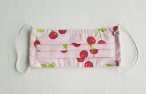 Handmade Pleated Face Mask Pink Cherries Unisex Reversible Washable Reusable