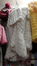 White Coat Sweater Handmade/with matching Hat. Infant Size 5T  Winter/Spring