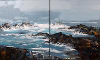"""""""Côte sauvage"""" GRAND FORMAT oeuvre originale JP Douchez sur toile 92x55cm"""
