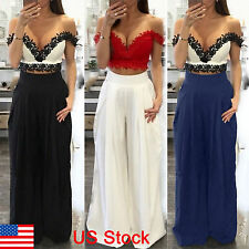Women Ladies Solid Palazzo Wide Leg Trousers High Waist Long Loose Casual Pants