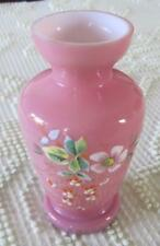 """Bristol Glass Late 19th Century Pink Glass 6"""" Vase with Floral Botanicals"""
