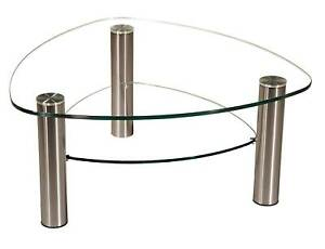 LIN-CA Klarglas-Couchtisch 90x90cm Wankelform mit Ablage + Rollen