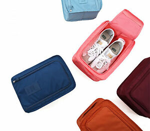 Waterproof Fold able Travel Shoe Bag Handle Sports Gym Carry Case Storage Box