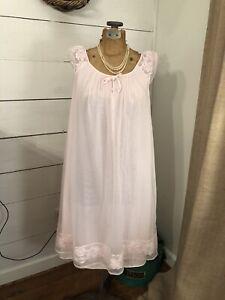 Vtg Pennys Gaymode Womens Lingerie Size Large Nightie Chemise pink Sheer S