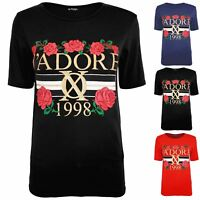 Womens Ladies Flower Roses J'adore 1998 Celebrity Inspired Tee Basic Top T Shirt
