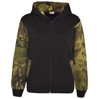 Kids Boys Girls Jackets Green Camouflage Hooded Hoodie Zipped Top Jacket 5-13 Yr