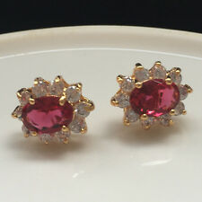 6mmx8mm Oval Zirconia Red Ruby CZ Stud Flower Earrings Yellow Gold Filled Gift