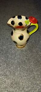 Mary Rose Young Pottery 2019 Jug, Black irredecent/lime/red Excellent Condition