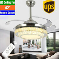 "42"" Remote Invisible Blade Silver Ceiling Fan Light Crystal LED Chandelier USA."