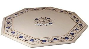 White Marble Lapis Floral Art Inlaid Antique Coffee Table Tops Decoration H4698