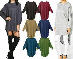 Women Plus Plain Oversized Long Sleeve Batwing Dip Hem Baggy Ladies loose Top