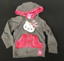 HELLO KITTY JACKET Girl's 3T Grey Pink Sequins Zip Front Hooded Lightweight