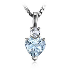 JewelryPalace Love Natural Aquamarine White Topaz Pendant 925 Sterling Silver