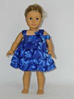 "Blue Ruffle Dress Fits 18"" American Girl Doll Clothes"