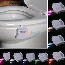 8 Color Body Sensing Sensor Automatic LED Night Light Toilet Bathroom Lamp