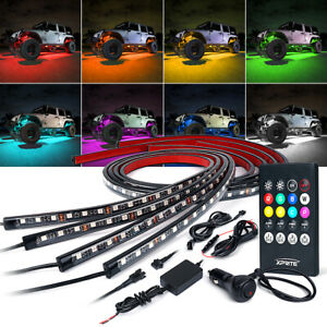 4PC 5050 RGB LED Strip Under Car Tube Underglow Underbody System Neon Lights Kit