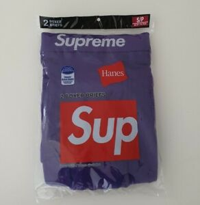 New and unopened SS21 Supreme Hanes purple boxer briefs (2pack) size S small