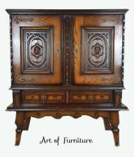 Vintage French Antique Style Oak Carved Cabinet Bar Buffet Dresser Handmade
