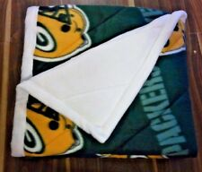 "HANDMADE THROW BLANKET GREEN BAY PACKER WITH WHITE BACK 48"" X 46"""