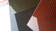 "2x2 Twill Carbon Fiber  Fiberglass Panel 6""×12""×2mm Glossy Both Sides Red"