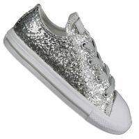 Converse Star Mandrin Taylor Ox Chaussures Pailettes Argent Paillettes Baskets