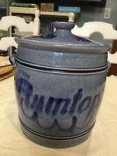 BEAUTIFUL -RUMTOPF Vintage Blue On Gray Glaze Large Fruit Crock