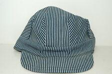 Railroad Train Engineer Hat Blue & White Stripe Size 7-3/8