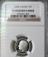 2008 S SILVER Roosevelt Dime  NGC- Proof 70 Ultra Cameo