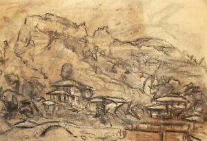 Antique pencil painting mountain village landscape