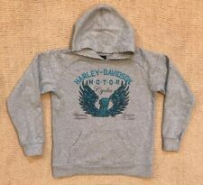 Harley Davidson Youth Girl's Gray Pull Over Embellished Hooded Jacket Hoody 8-10
