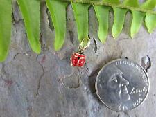 14KT Yellow Gold Enamel Lady Bug Pendant Charm Red TINY Baby Sized Mini...NEW