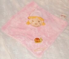 Doudou velours carré rose fillette Bengy broderie escargot (23x23cm) TBE