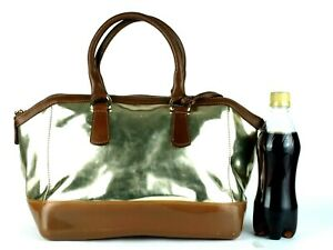 FURLA Gold PVC & Brown Leather Small Boston Hand Bag Handbag Purse Italy Good