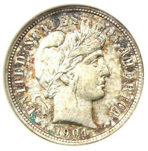 1904-S Barber Dime 10C Coin - Certified ANACS AU Detail / Net XF40 - Rare!