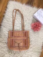 Tan Leather Moroccan Hippy Tote Bag Handbag