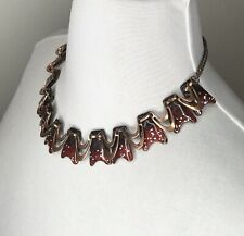 Matisse Renoir Copper Red Enamel Necklace Atomic Age Boomerang