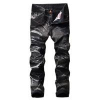 Denim Mens Jeans Hip-Hop Street Casual Straight Pants Slim fit Trousers Pencil