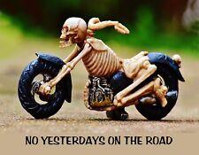 METAL REFRIGERATOR MAGNET Skeleton Motorcycle No Yesterdays On Road Saying