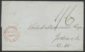 1846 SFL, Montreal LC to Goderich CW via Hamilton, 1/6 Manuscript Rate
