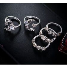 5Pcs/Set Vintage Silver Star Flower Crystal Stackable Sparkly Rings Boho Jewelry