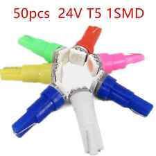 50x 24V T5 1SMD 5050 Car Side Marker Light LED Bulbs white/yellow/green/red/pink
