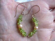 Peridot & Peach Freshwater Cultured Pearl Rose Gold Plated Drop Earrings