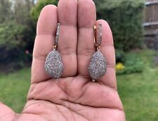 VINTAGE DIAMOND COFFEE BEAN EARRINGS. 8CTS. DIAMONDS.