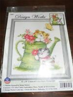 "DESIGN WORKS Counted Cross Stitch Kit WATERING CAN CATS - 8"" x 10"""