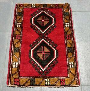 Turkish Vintage Ethnic Red Carpet Cappadocia Oriental Wool Doormat Rug 2x3 ft.