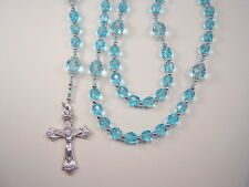"Rosary Girls Catholic 16+"" Aqua Czech Glass Beads Chica Rosario"