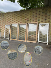 More details for job lot of reclaimed old wooden panel sash windows cylinder wavy glass x 5