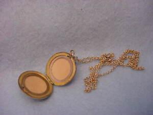 Vintage Art Nouveau Gold Filled  Locket Necklace  Double Lion Heads