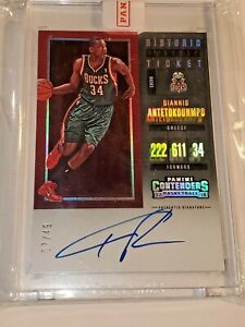 Giannis Antetokounmpo 💎 2017-18 Contenders Historic Playoff Ticket Auto 7/49 💎