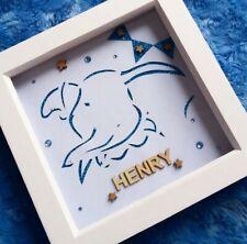 Handmade Personalised Disney Dumbo Papercutting Box Frame Baby Boy Gift Decor